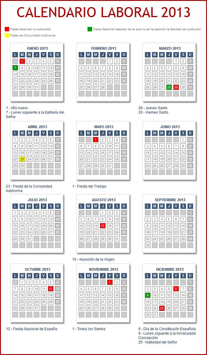 Calendario Laboral 2013